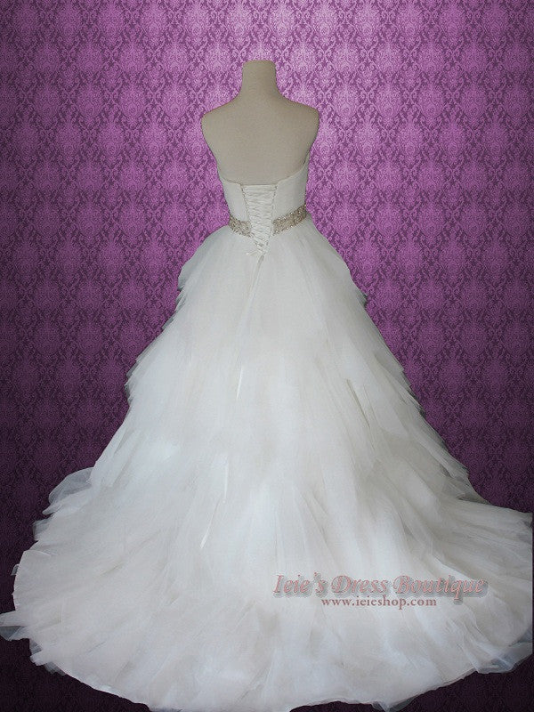 Strapless Princess Ball Gown Wedding Dress With Tulle Layered Ruffles And Jeweled Flower Sash