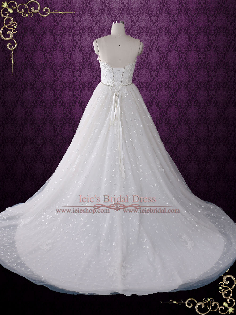 Strapless Princess Style Lace Ball Gown Wedding Dress