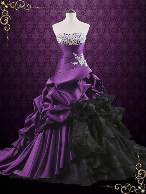 Unique purple lace ball gown wedding dress with ruffles for Purple lace wedding dress