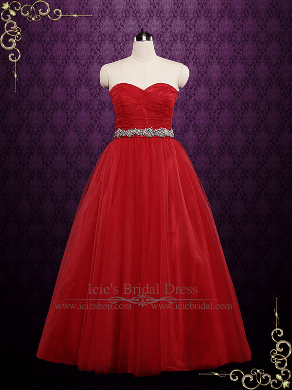 Strapless Red Tulle Ball Gown Wedding Dress