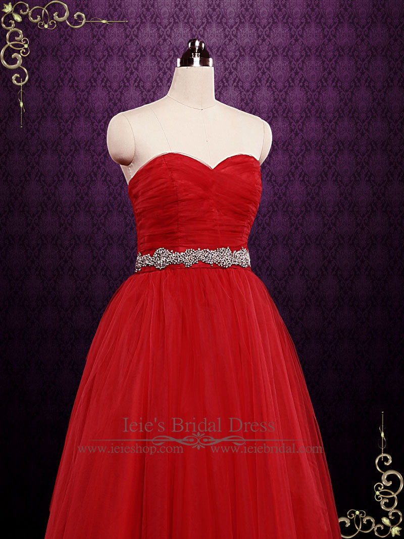 Strapless Red Tulle Ball Gown Wedding Dress   ieie Bridal