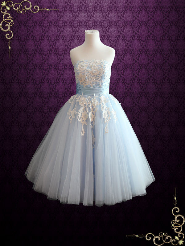 Ice Blue Retro Tea Length Ballerina Style Formal Dress | Kelsey