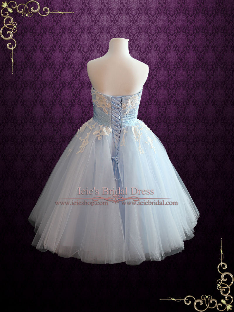 Retro wedding dresses ieie bridal ice blue retro tea length ballerina style formal dress kelsey ombrellifo Image collections