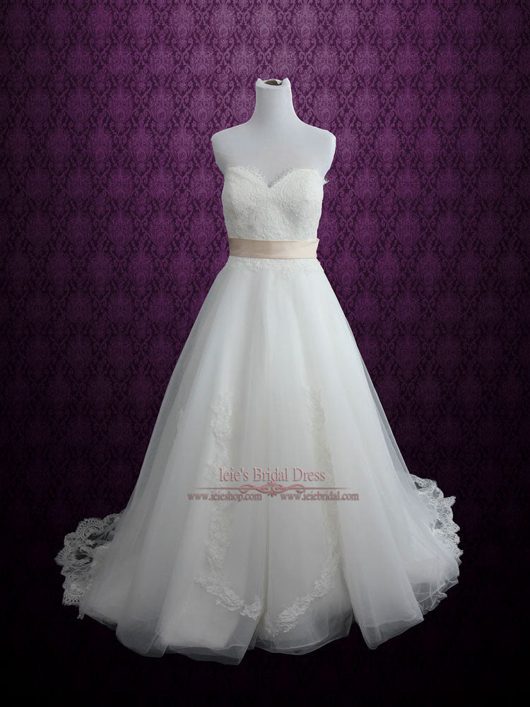 Chantilly Lace Princess Wedding Dress Size 8 Ready to Wear