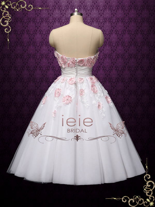 short strapless tea length wedding dress with pink flowers