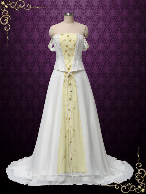 Love Story Retro Vintage Medieval Style Wedding Dress