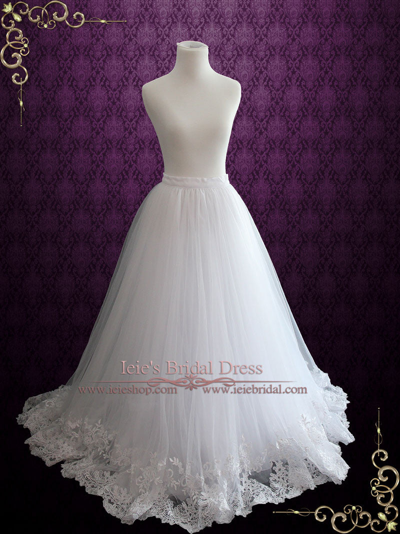 A Line Wedding Dress Tulle Skirt With Lace Hem Cyra Ieie
