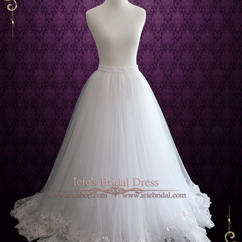 bf64ad5b8f1b A-line Tulle Wedding Dress Skirt with Lace Hem | Cyra. Ready to Ship Size 6  ...