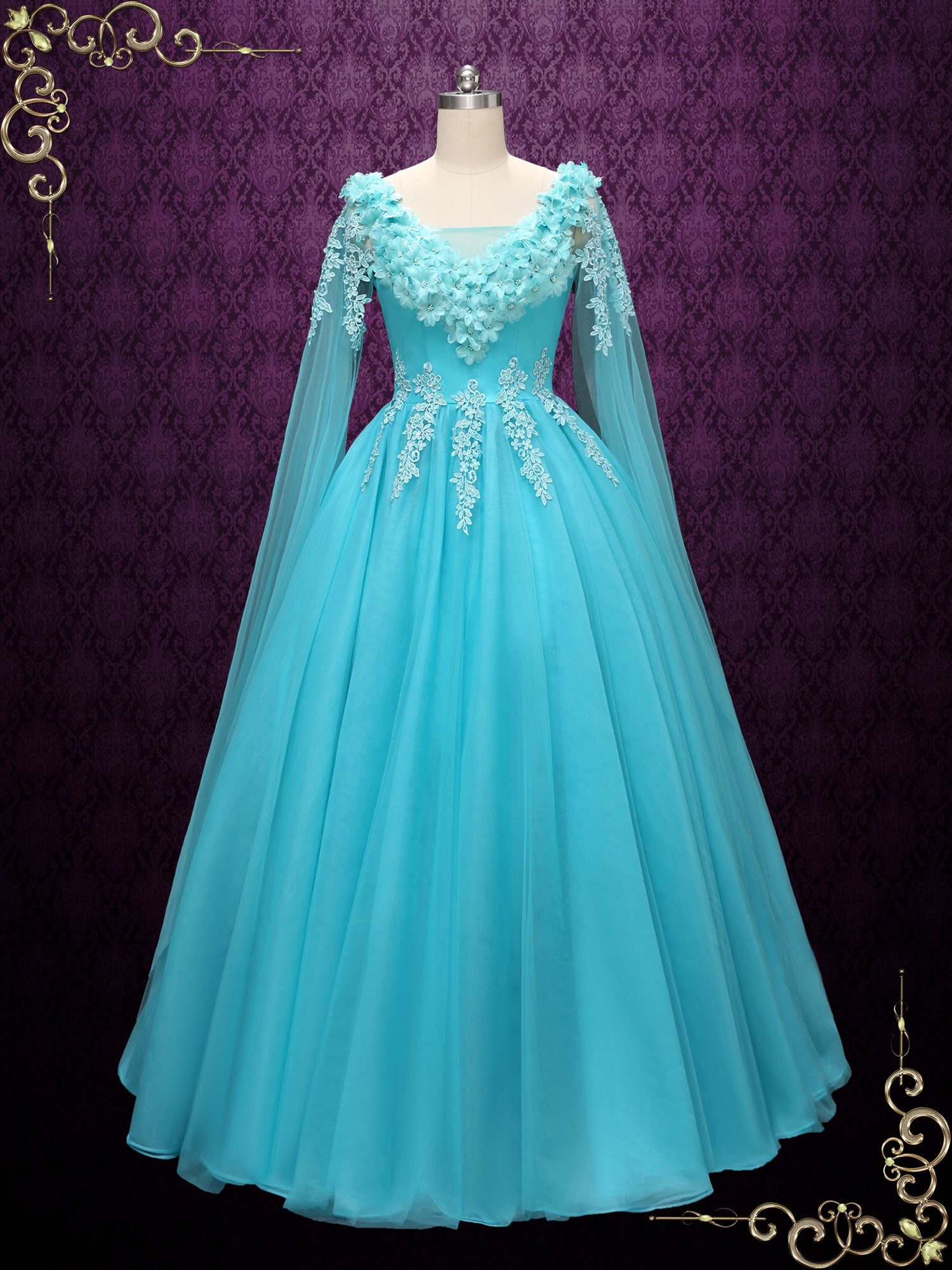 Turquoise Ball Gown Wedding Dress | Bracie