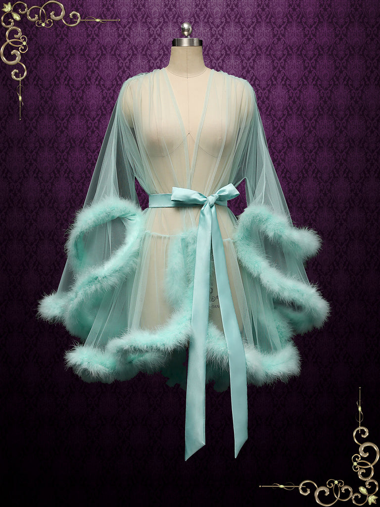 Turquoise Honeymoon Wedding Marabou Fur Edge Boudoir Robe CICI