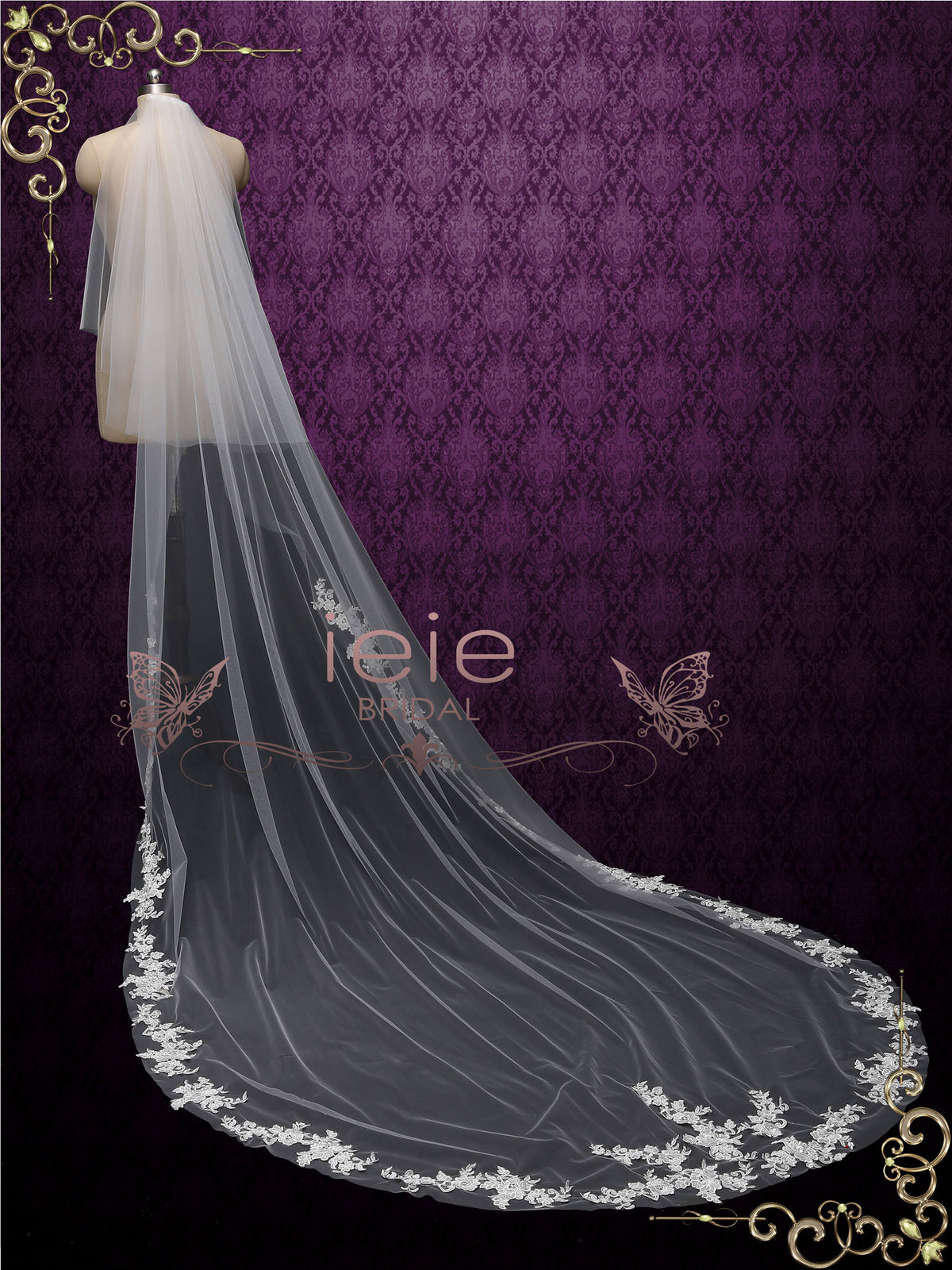 Chapel Length Lace Edge Bridal Wedding Veil with Blusher VG1016