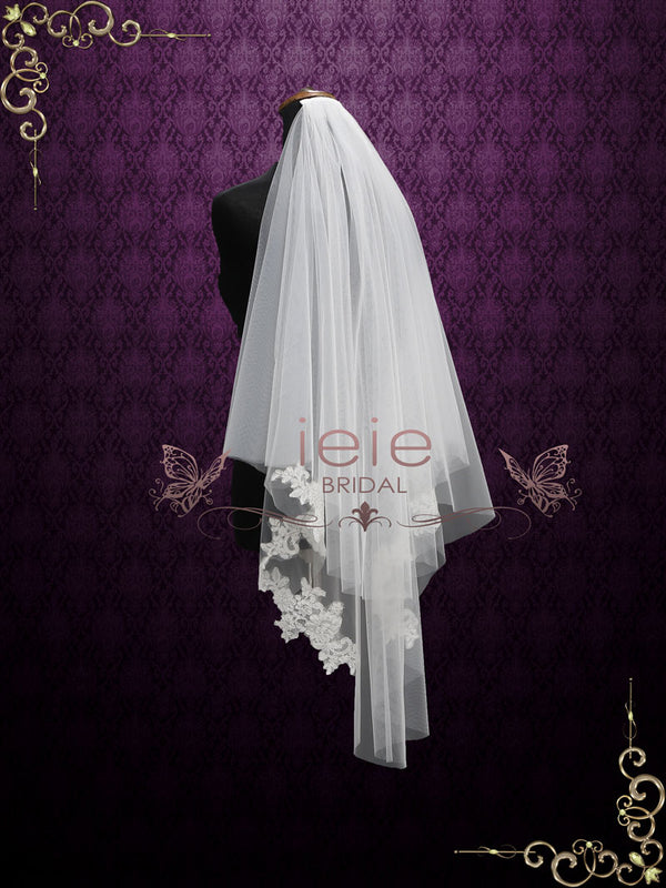 Two Layer Short Fingertip Lace Wedding Veil | VG2010