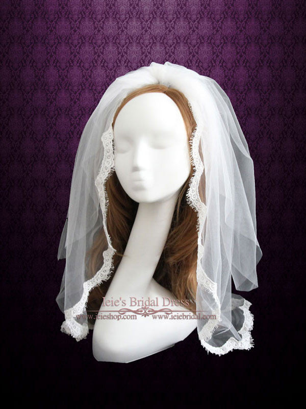 Two tier shoulder length tiny eyelash edge lace veil