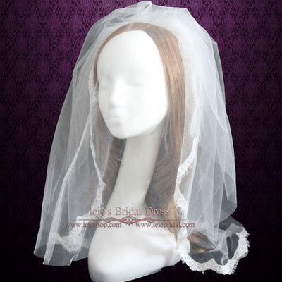 Elbow Length Eye Lash Lace Wedding Veil with Blusher | VG1027