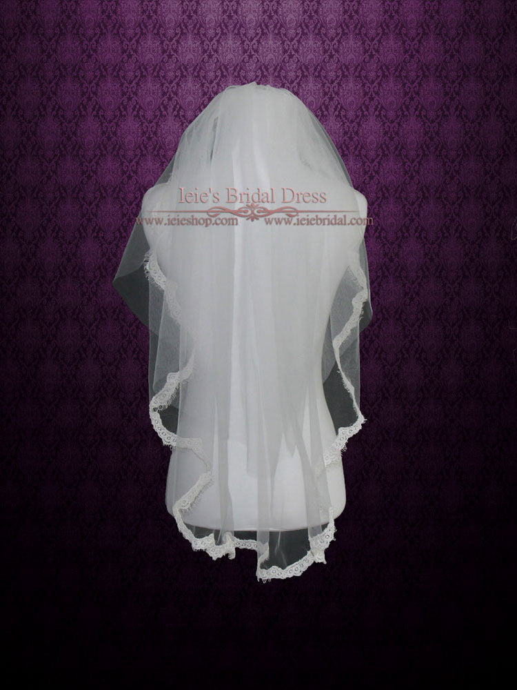 Elbow Length Eye Lash Lace Wedding Veil With Blusher