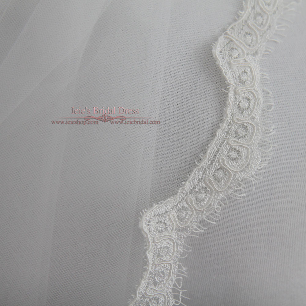 Elbow Length Eye Lash Lace Wedding Veil with Blusher VG1027