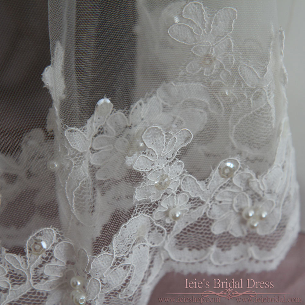 Two Tier Fingertip Length Lace Wedding Veil with Pearl Beadings VG1041