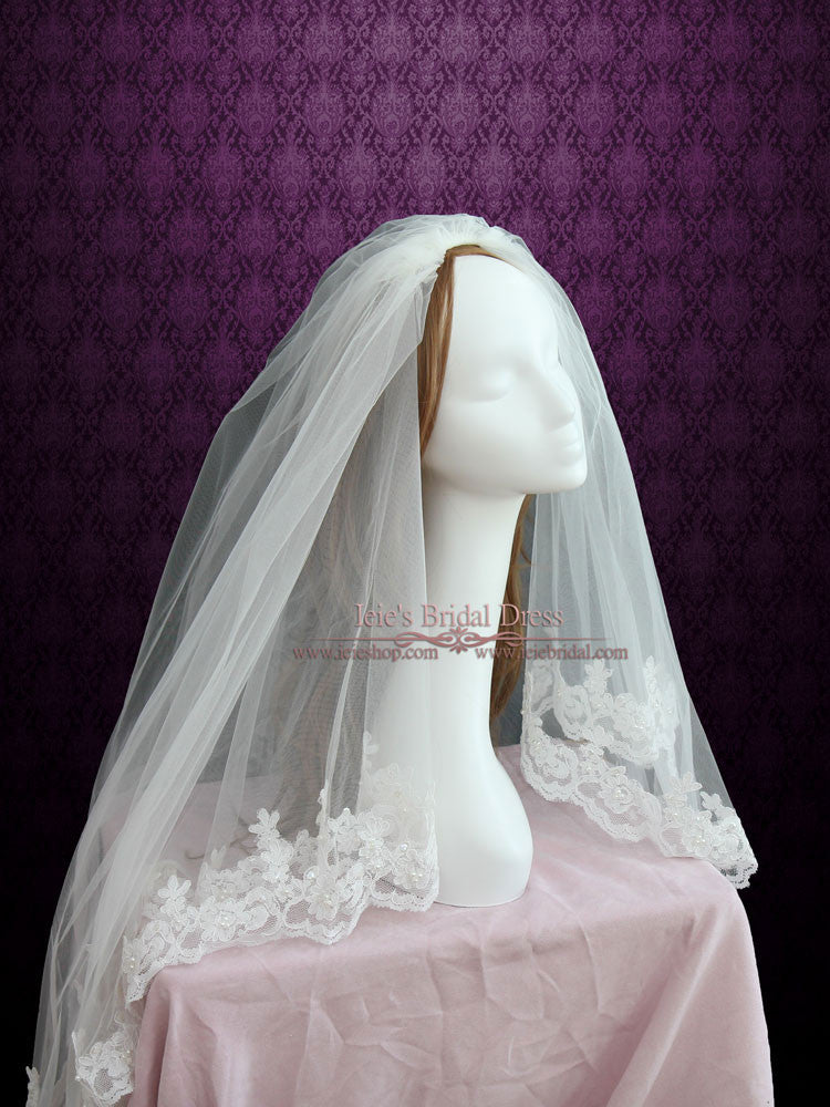 Two Tier Fingertip Length Lace Bridal Veil with Pearl Beadings VG1041