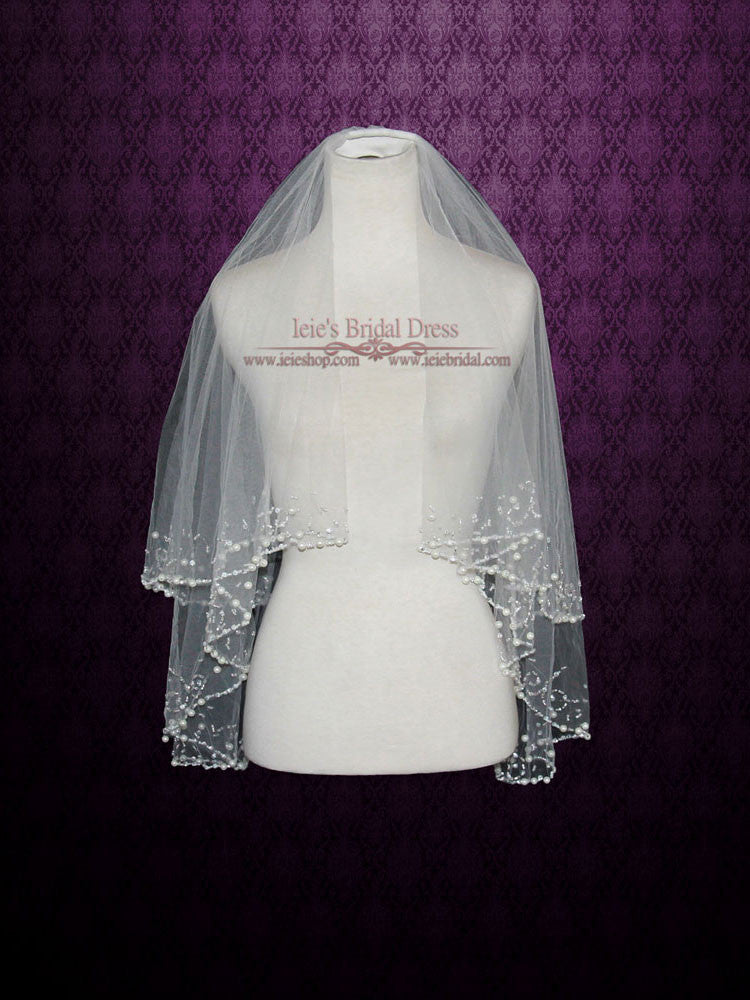 Two Tier Ivory Elbow Length Veil with Pearl Beadings | VG1023