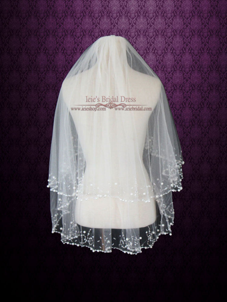 2 Tiers Ivory Elbow Length Veil with Pearl Beadings VG1023