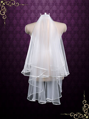 Two Tier Fingertip Wedding Veil With Satin Edges | VG1079
