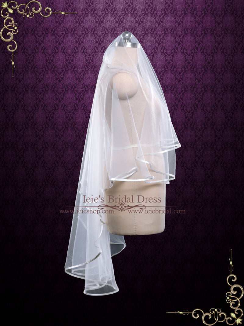Two Tier Fingertip Wedding Veil With Satin Edges Vg1079
