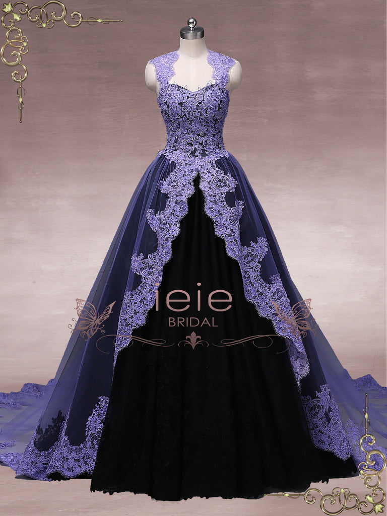 Unique Purple Black Ball Gown Wedding Dress OCTOBER