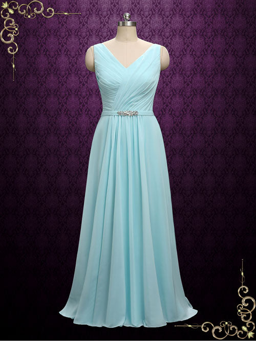 Chiffon V Neck Chiffon Bridesmaid Dress | A8