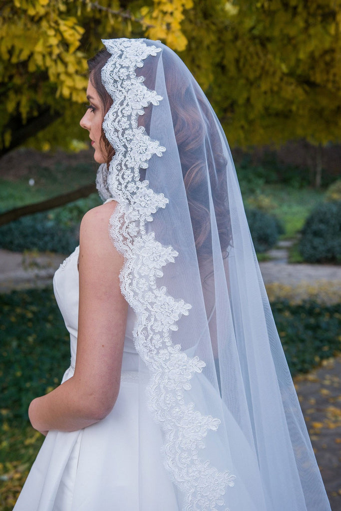 Cathedral Chapel Length Lace Mantilla Wedding Veil VG1001