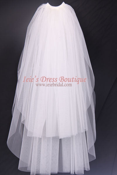 Plain Two-Tier Finger Tip Length Wedding Veil With Raw Edge VG1013