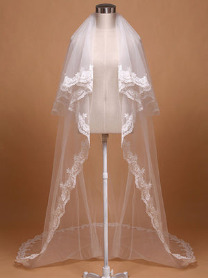 Chapel Length Two Tier Lace Wedding Veil | VG1043