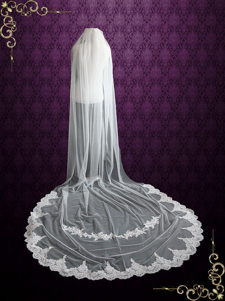 Cathedral Length Soft Tulle Bridal Veil with Laces at the End and Light Pearl Beading VG1044