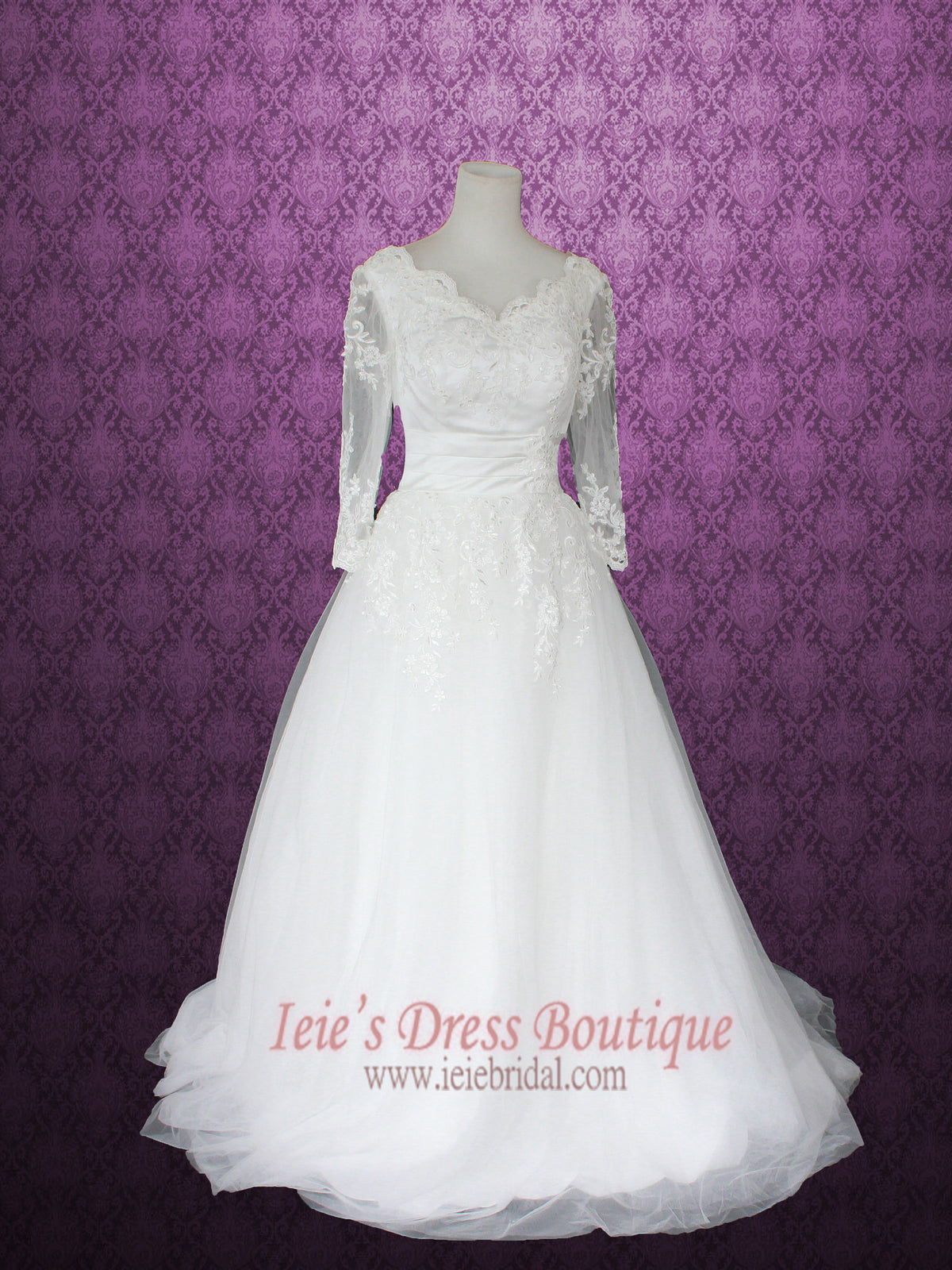 Victorian Style Princess Ball Gown Floral Lace Wedding Dress With Long €� Ieie: Wedding Dress Sleeves Princess Styles At Reisefeber.org