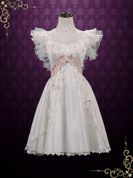 Vintage Victorian Style Short Lace Wedding Dress Alma