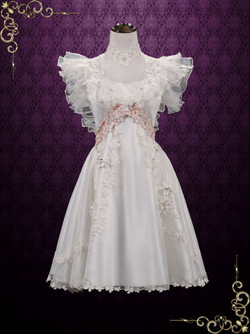 Vintage Victorian Style Short Lace Wedding Dress | Alma