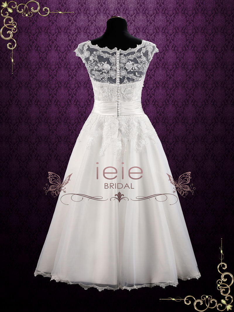 Vintage Inspired Ankle Length Lace Wedding Dress Clarin