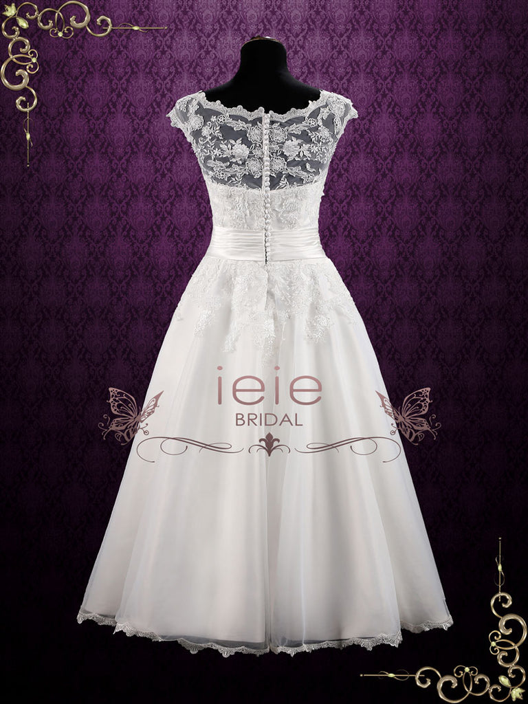 Vintage Inspired Ankle Length Lace Wedding Dress | Clarin