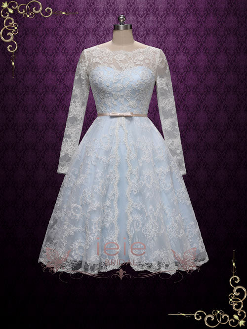 Vintage Inspired Blue Tea Length Lace Wedding Dress with Sleeves | Maya