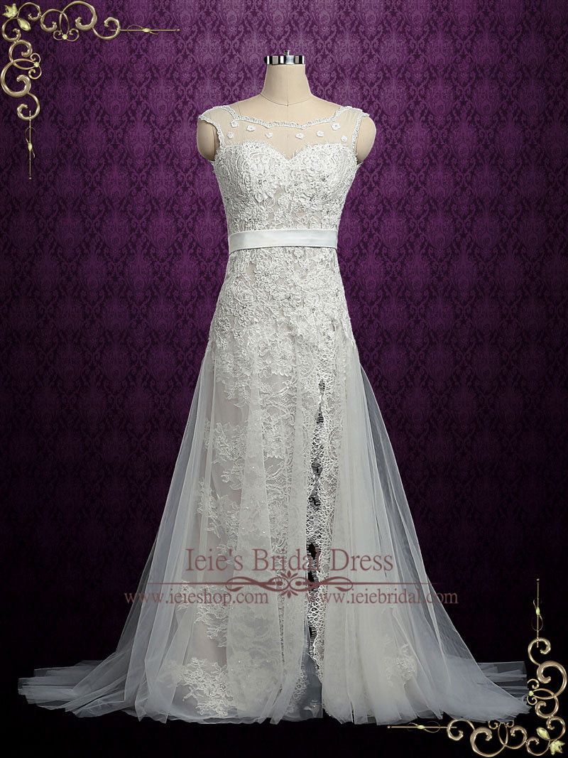 Vintage Lace Wedding Dress With Side Slit Maria Ieie