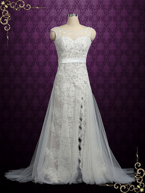Vintage Champagne Lace Wedding Dress with Side Slit | Maria