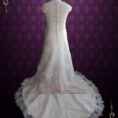 Vintage Style Champagne Lace Wedding Dress with Cap Sleeves and Lace Illusion Back