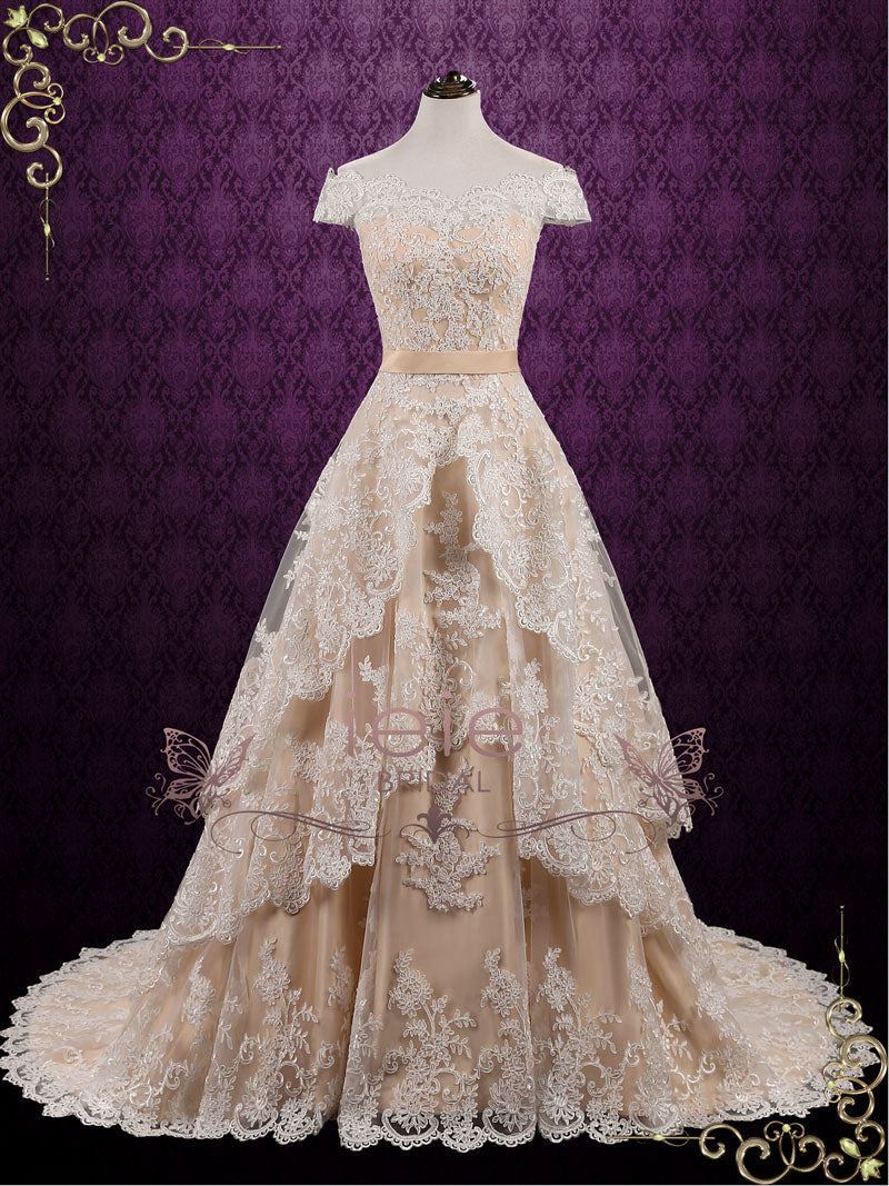 Vintage Lace Wedding Dress with Tiered Skirt Madelyn ieie Bridal
