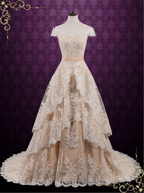 Vintage Champagne Lace Wedding Dress with Tiered Skirt | Madelyn