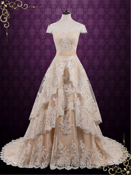 Vintage Lace Wedding Dress with Tiered Skirt | Madelyn