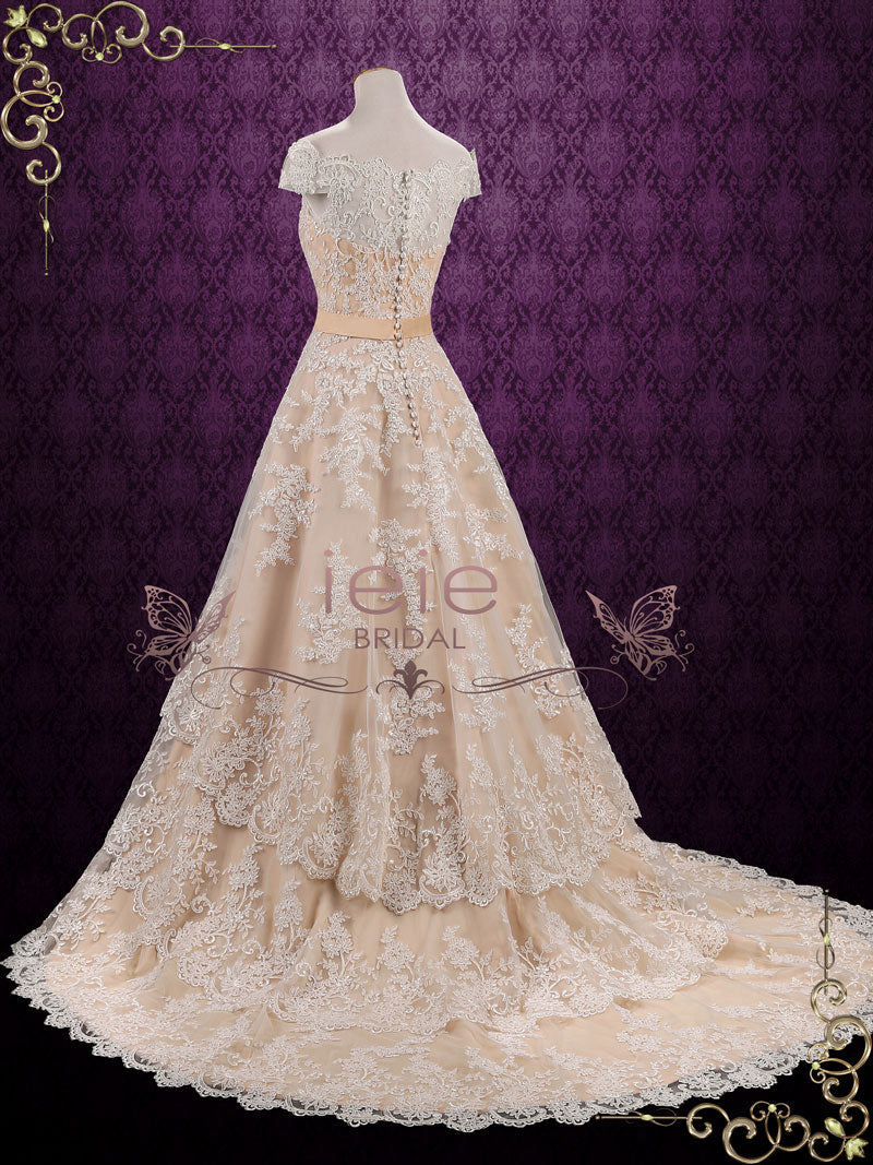 Vintage Lace Wedding Dress With Tiered Skirt Madelyn