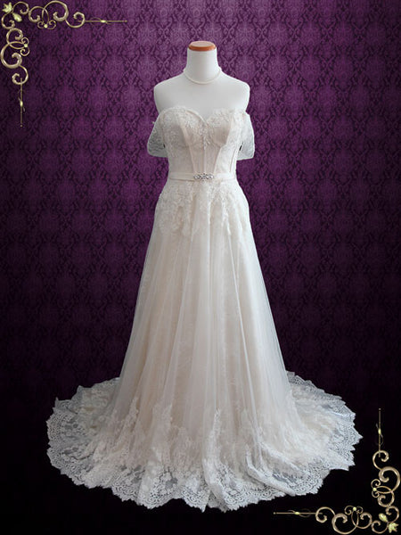 Vintage Light Champagne Lace Wedding Dress with Off Shoulder  Straps