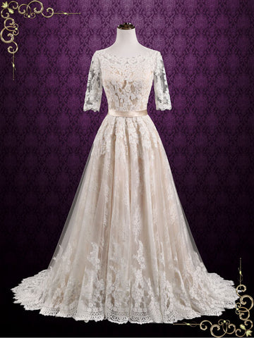 Vintage Lace Wedding Dress with Lace Sleeves | Ashton