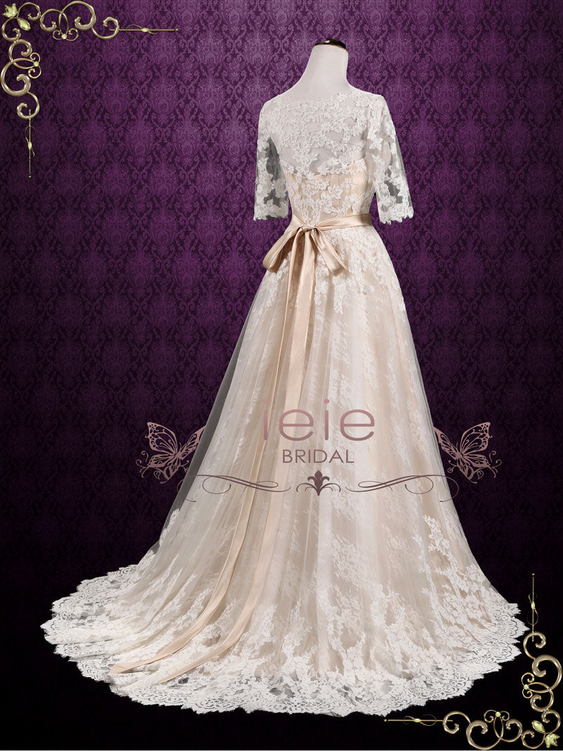 Vintage Champagne Lace Wedding Dress with Lace Sleeves | Ashton