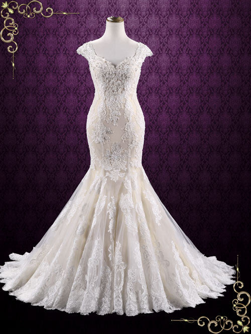 Vintage Champagne Lace Mermaid Wedding Dress | Miranda