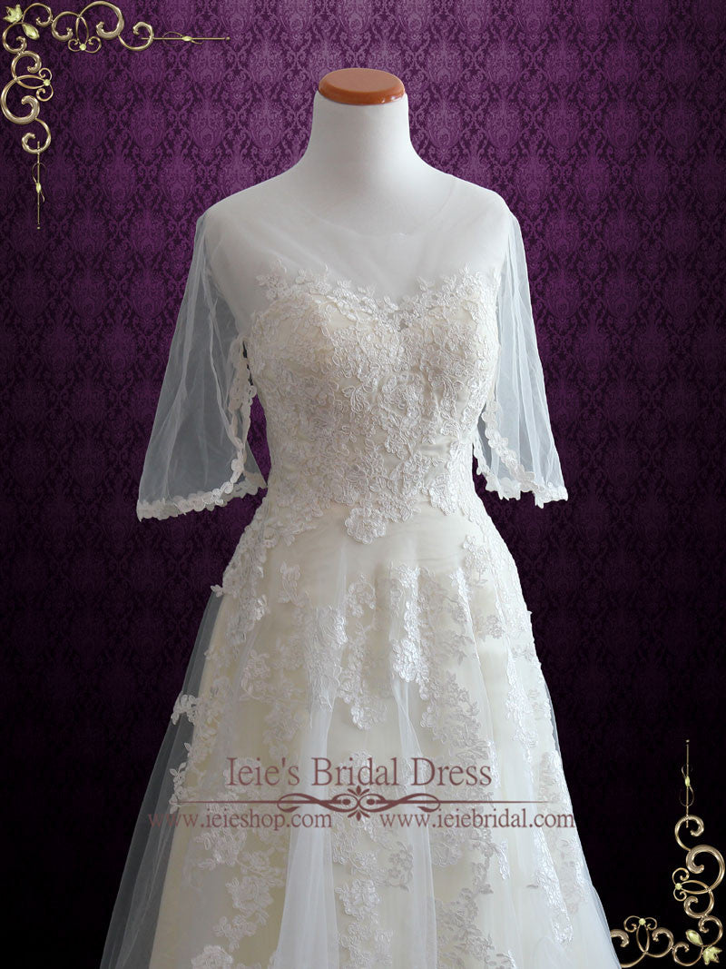 Vintage Lace Tulle Wedding Dress With Half Sleeves
